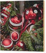 Red Christmas Balls Wood Print