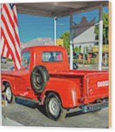 Red Dodge Pickup Truck Parked In Front Wood Print