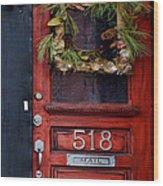 Red Door Wood Print