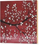 Red Japanese Cherry Blossom Wood Print