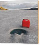 Red Jerrycan Lost On Frozen Lake Laberge Yukon T Wood Print