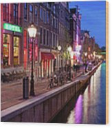 Red Light District In Amsterdam Wood Print