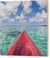 Red Outrigger Canoe Wood Print
