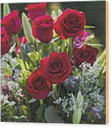 Red Rose Romance Wood Print