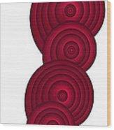 Red Spirals Wood Print