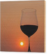 Red Wine At Sunset Wood Print