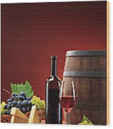 Red Wine Composition Wood Print