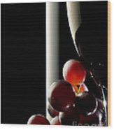 Red Wine With Grapes Wood Print by Johan Swanepoel