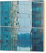 Reflections In Modern Glass-walled Building Facade Wood Print