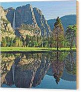 Reflections Of Yosemite Falls Wood Print