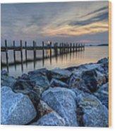 Rehoboth Bay Sunset Wood Print