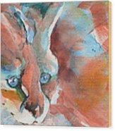 Rescued Serval  Wood Print