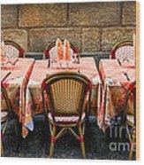 Restaurant Patio In France Wood Print by Elena Elisseeva