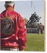 Retired Marine Paying Respect Wood Print
