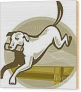 Retriever Dog Training Jumping Hurdle Retro Wood Print by Aloysius Patrimonio