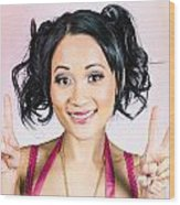 Retro Asian Girl Gesturing Peace Love And Hope Wood Print