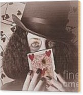 Retro Magician Holding Burnt Playing Card Wood Print