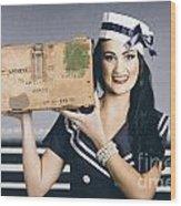 Retro Maritime Portrait. Woman In Sailor Fashion Wood Print