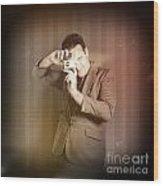Retro Photographer Man Taking Photo With Camera Wood Print
