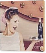 Retro Pinup Girl Holding Food And Drinks Tray Wood Print