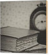 Retro Setting And Effect Of Antique Vintage Books Wood Print