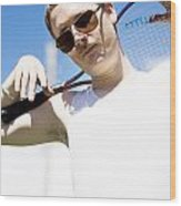 Retro Tennis 1970 Wood Print
