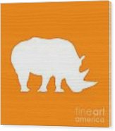 Rhino In Orange And White Wood Print