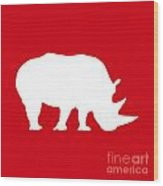 Rhino In Red And White Wood Print