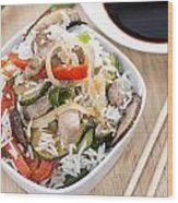 Rice With Mixed Vegetables Wood Print