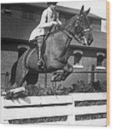 Rider Jumps At Horse Show Wood Print