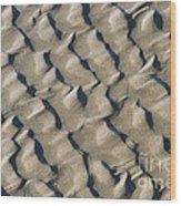 Ripple Pattern On Mudflat At Low Tide Wood Print