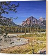 River And Mountains In Jasper Wood Print