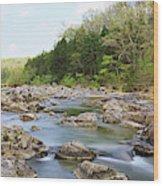 River Flowing Through Rocks, Black Wood Print