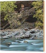 River Flowing Through Rocks, Zion Wood Print
