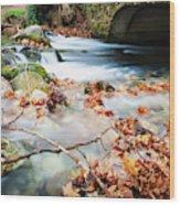 River Flowing Under Stone Bridge Wood Print