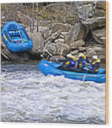River Rafting Wood Print