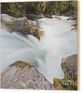 River Rapids Washing Over Rocks With Silky Look Wood Print