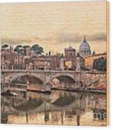 River Tiber In Rome Wood Print