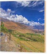 Road And Mountains Of Leh Ladakh Jammu And Kashmir India Wood Print