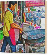 Roasting Chestnuts In China Town In Bangkok-thailand  Wood Print