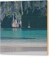 Rock Formations In The Sea, Phi Phi Wood Print