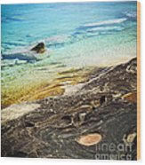 Rocks And Clear Water Abstract Wood Print
