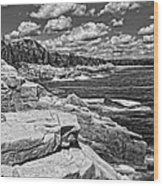 Rocky Summer Seascape Acadia National Park Photograph Wood Print