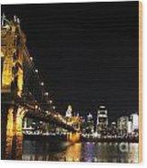 Roebling Suspension Bridge Pano 3 Wood Print