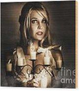 Romantic Blonde Woman Holding The Light Of Love Wood Print