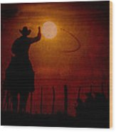 Ropin' The Moon Wood Print