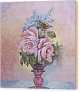 Roses In Ruby Vase Wood Print