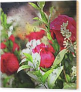 Roses In The Rain Wood Print