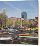 Rotterdam Cityscape In Netherlands Wood Print