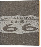Route 66 - Oklahoma Shield Wood Print